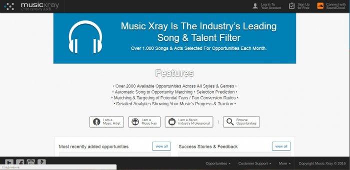 Сайт для заработка на музыке musicxray.com