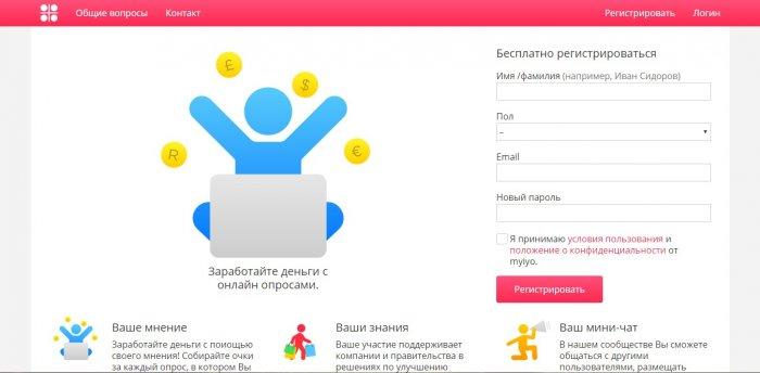 Сайт, на котором можно зарабатывать на заданиях - MYIYO.COM