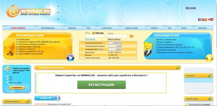 Сервис почтовых рассылок wmmail.ru
